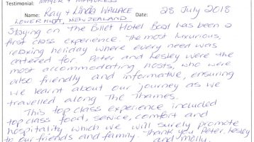 The Billet Hotel Boat Guest Review: Ray & Linda – 22nd July 2018 – UK Barge Holiday
